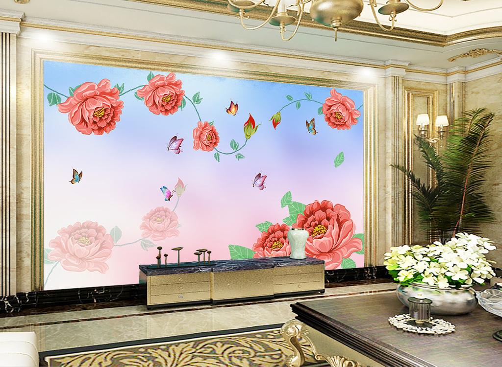 新时尚新中式手绘牡丹花蝶恋花客厅背景墙