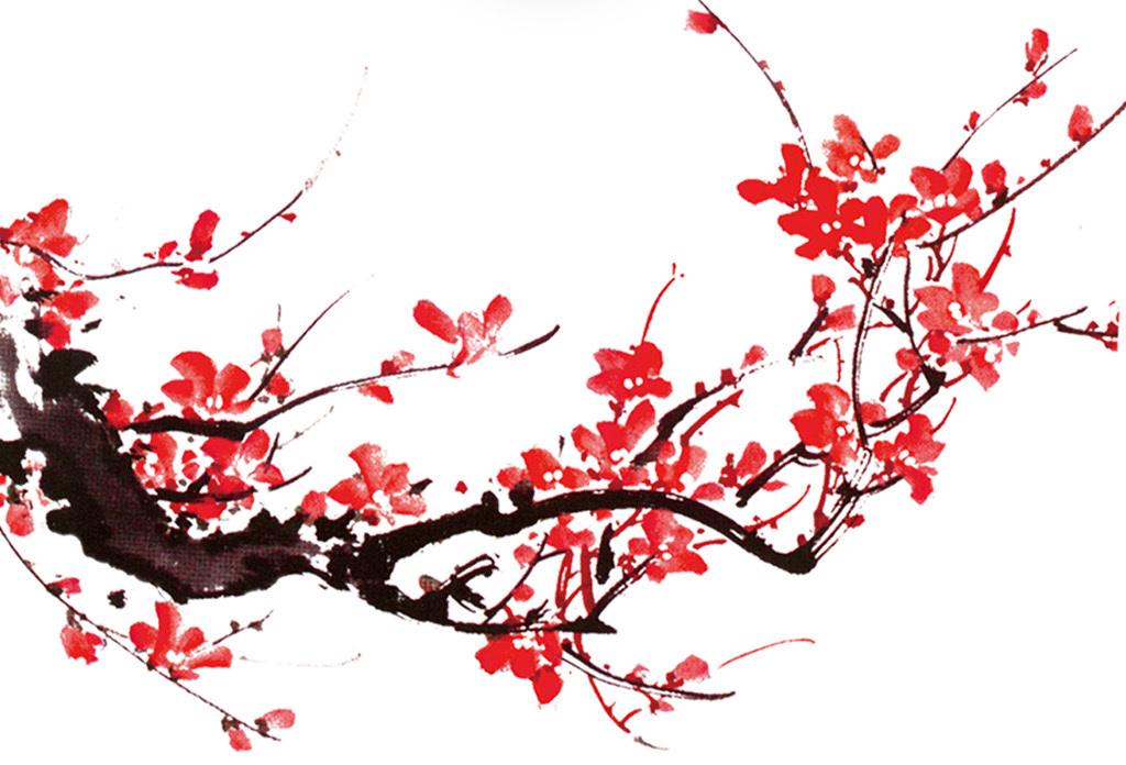 新中式水墨梅花山水简约时尚装饰画无框画图片