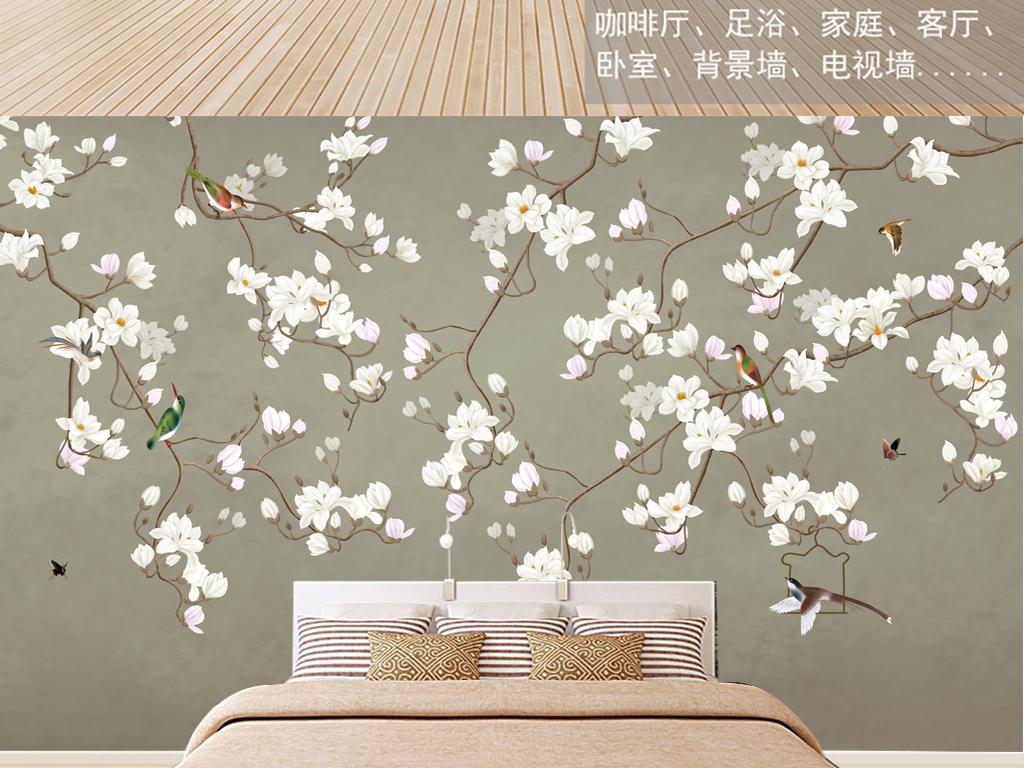 中式手绘兰花山水工笔花鸟背景墙装饰画