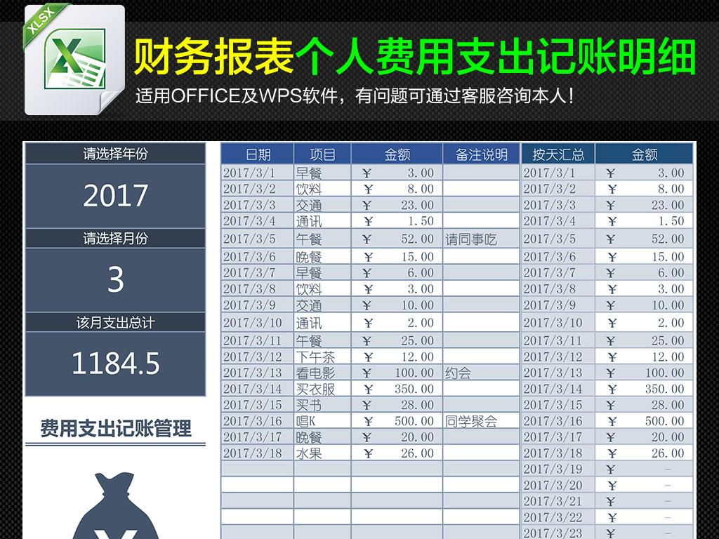 管理费用支出记账明细表模板下载 excel格式素材 图片0.03MB 财务报