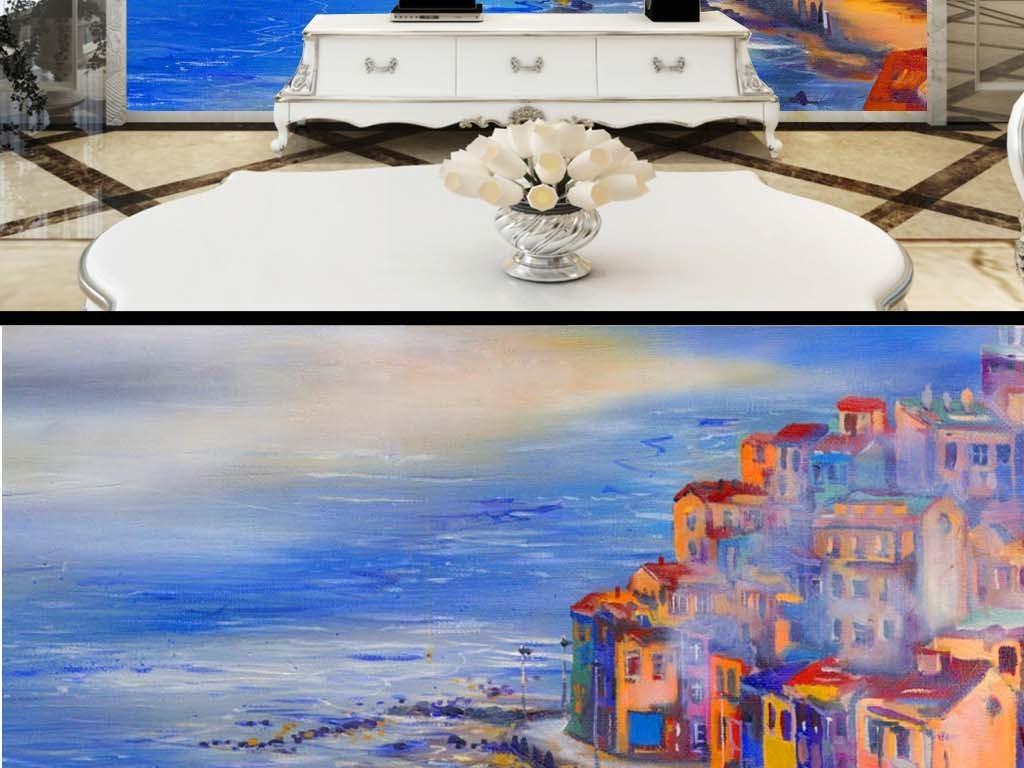 中式复古风手绘古镇大海小船生活电视背景画