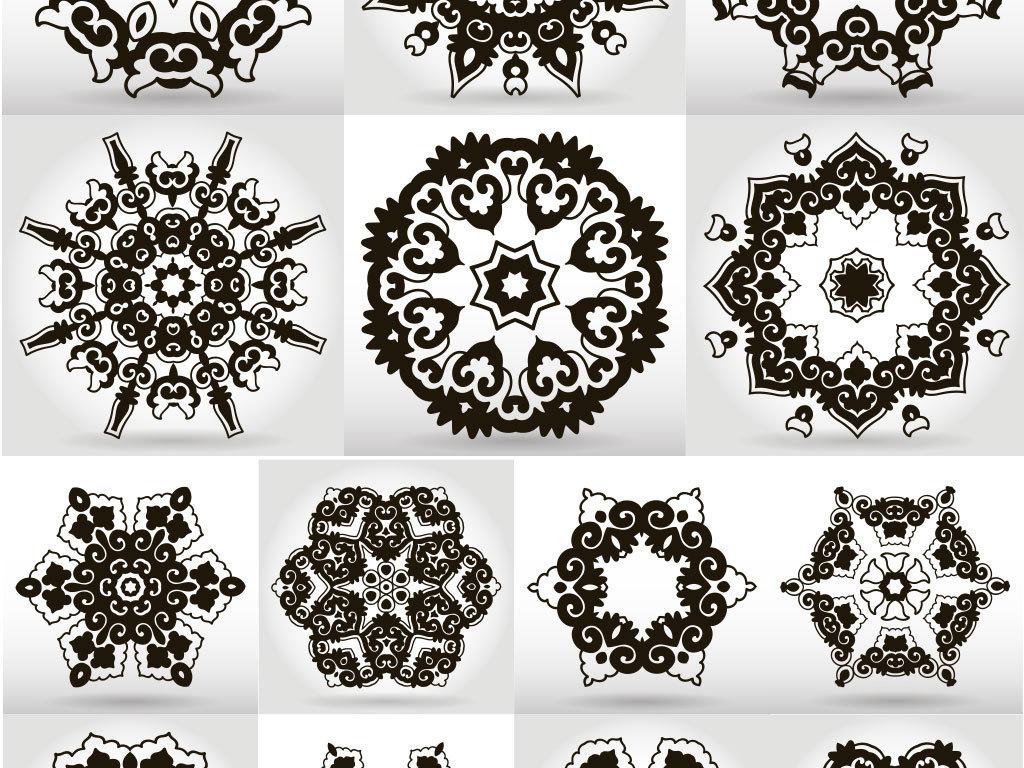 手绘黑色花纹欧式图案边框素材