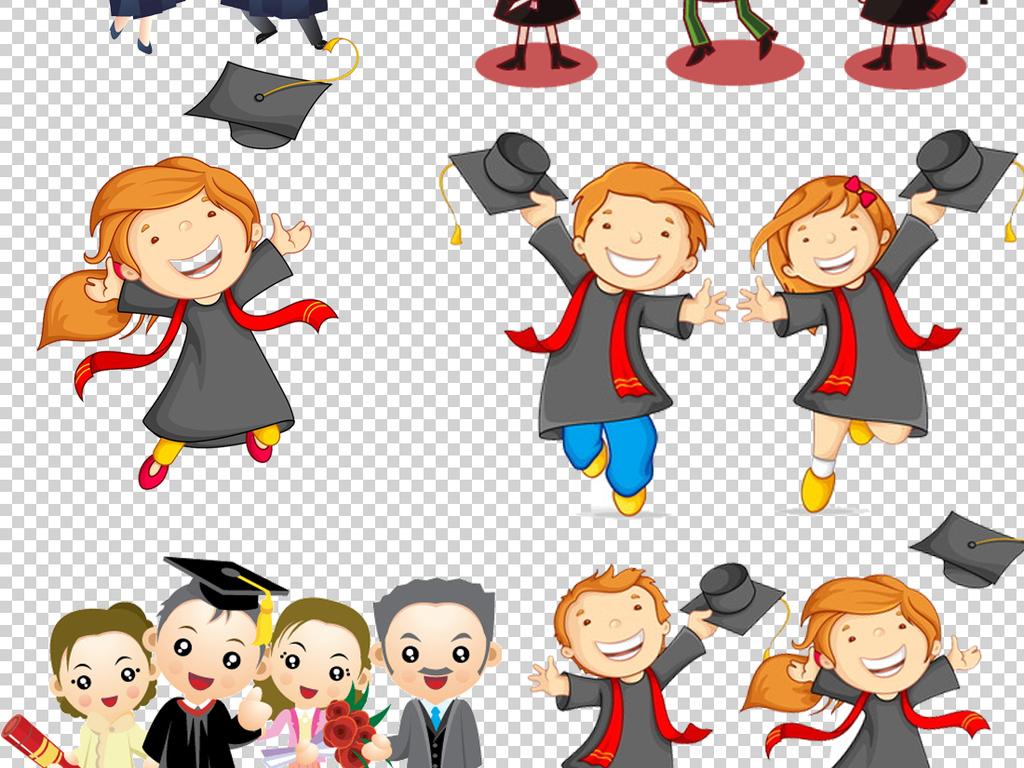 毕业照卡通背景卡通人物卡通素材透明背景卡通博士人物素材人物背景