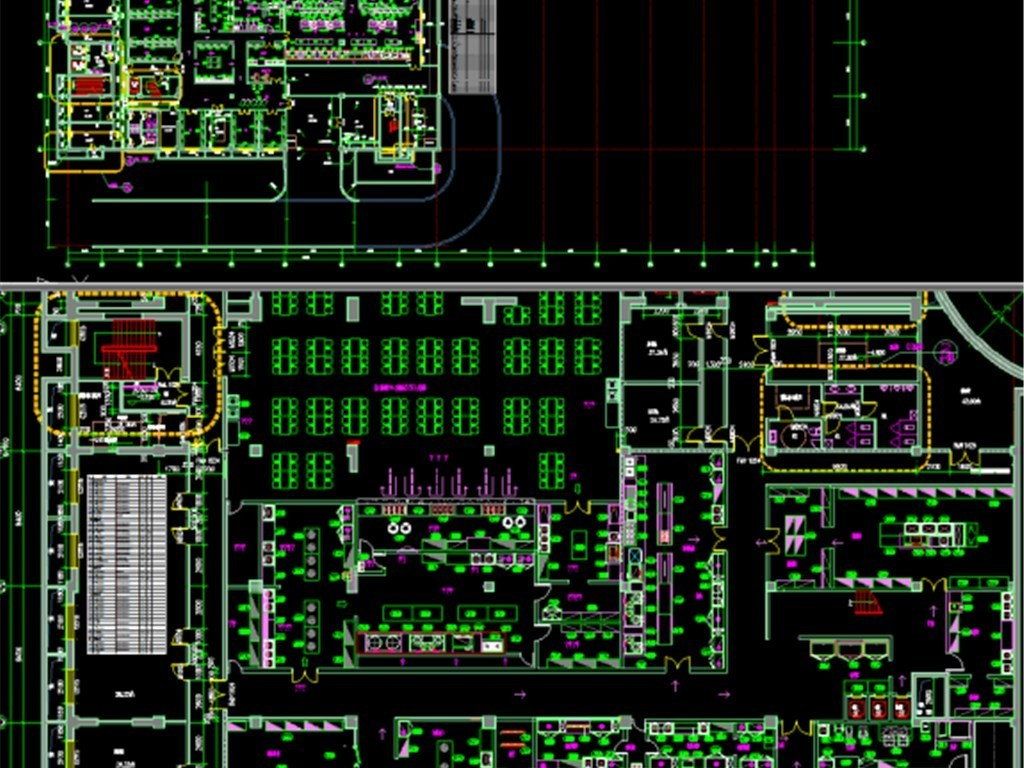 cad图库 工装施工cad图纸 餐厅饮食cad施工图 > 地下一层厨房平面图ca