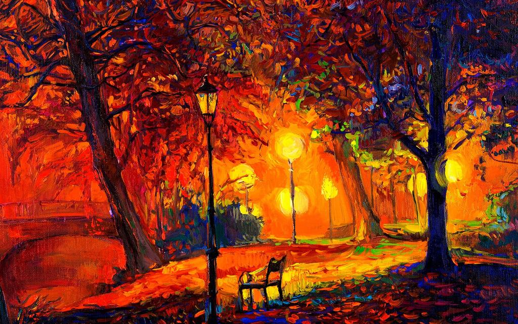 手绘油画风景夜景夜灯挂画意境高清
