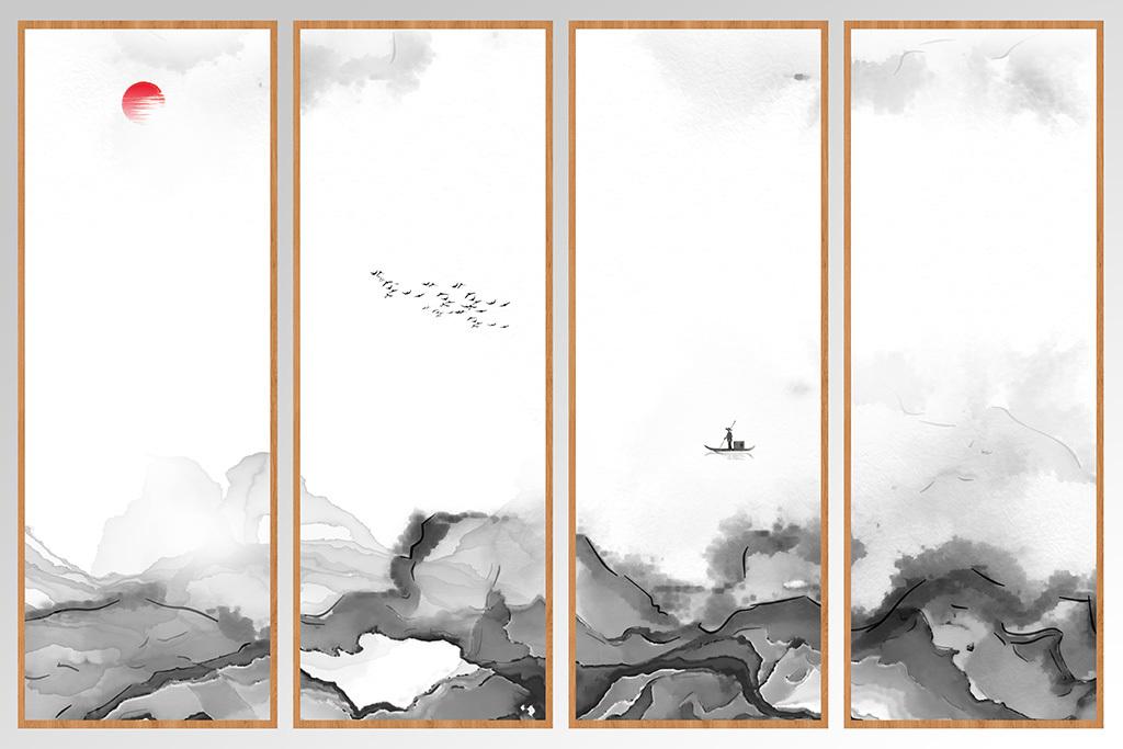 新中式抽象水墨山水画图片