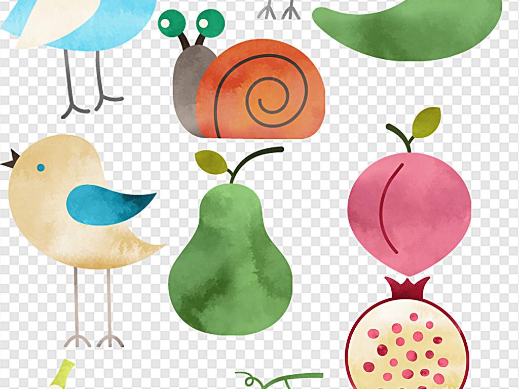 水彩小动物卡通小动物水彩蔬菜水彩花朵标签