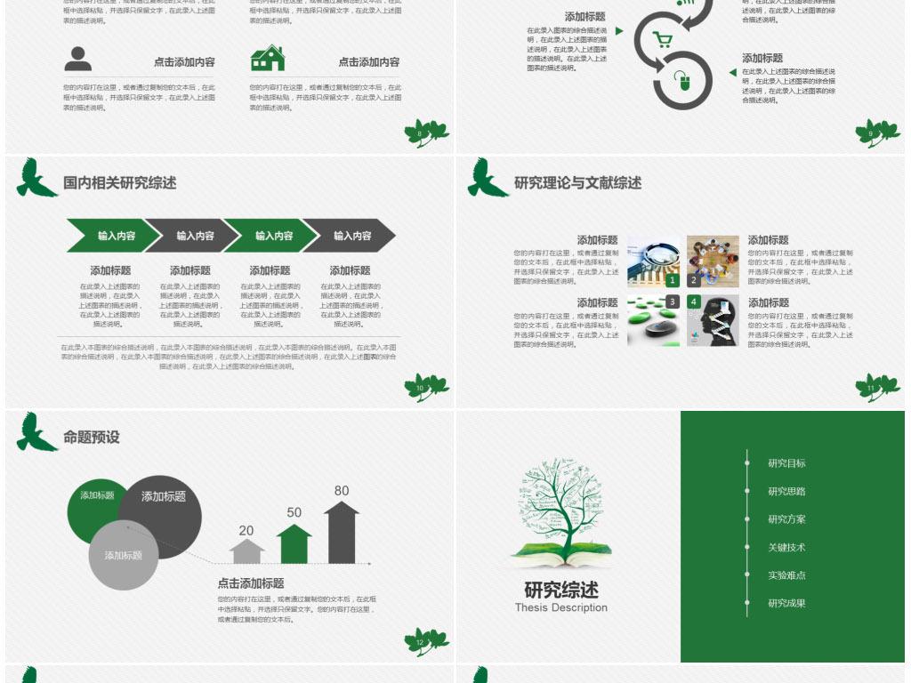 绿色清新本科硕士毕业论文开题报告答辩模板