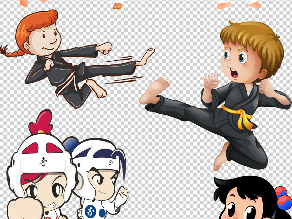 跆拳道柔道卡通人物png透明背景素材