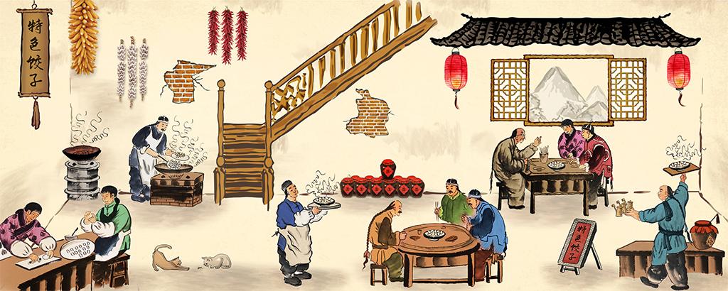 特色背景饺子背景水饺饺子手绘人物手绘背景手绘墙手绘背景墙手绘花鸟