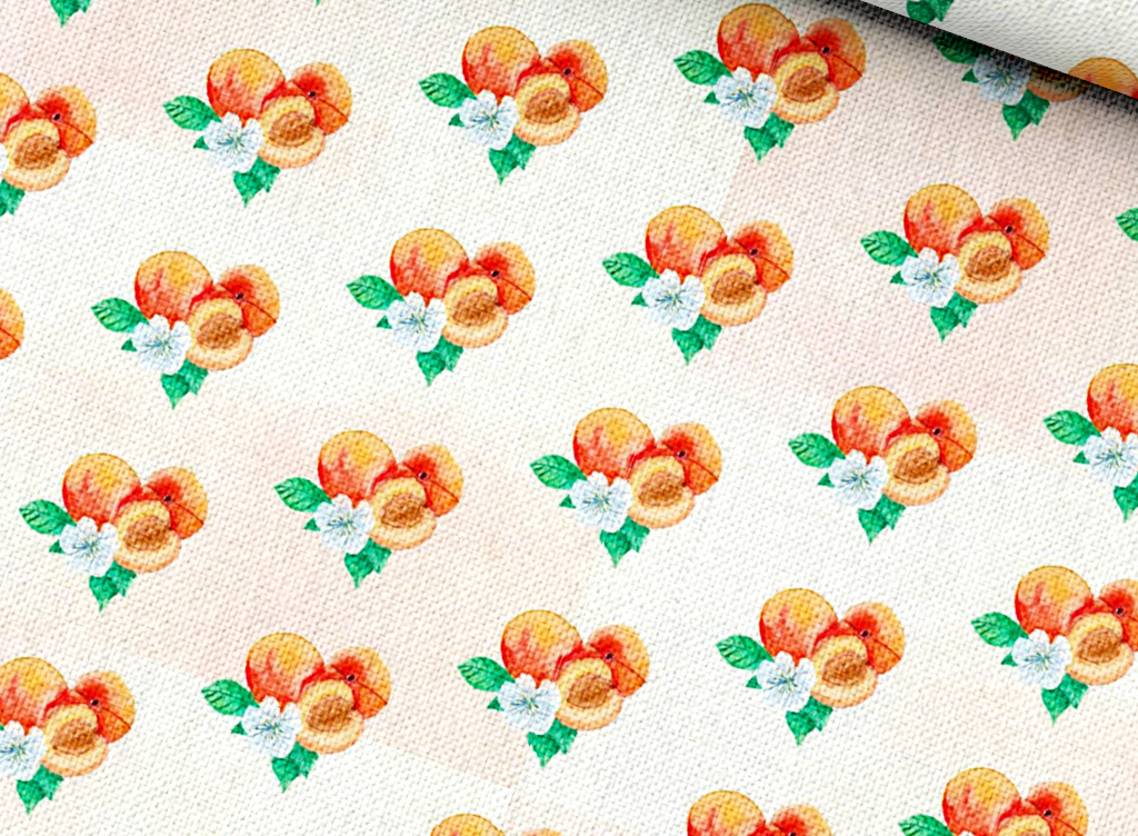 水彩水蜜桃艺术图案手绘水果保证图案设计