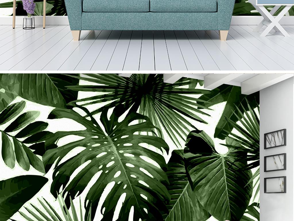 背景墙 电视背景墙 手绘电视背景墙 > 复古热带雨林棕榈芭蕉叶客厅