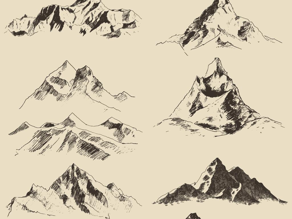 手绘山脉山峰层峦叠嶂