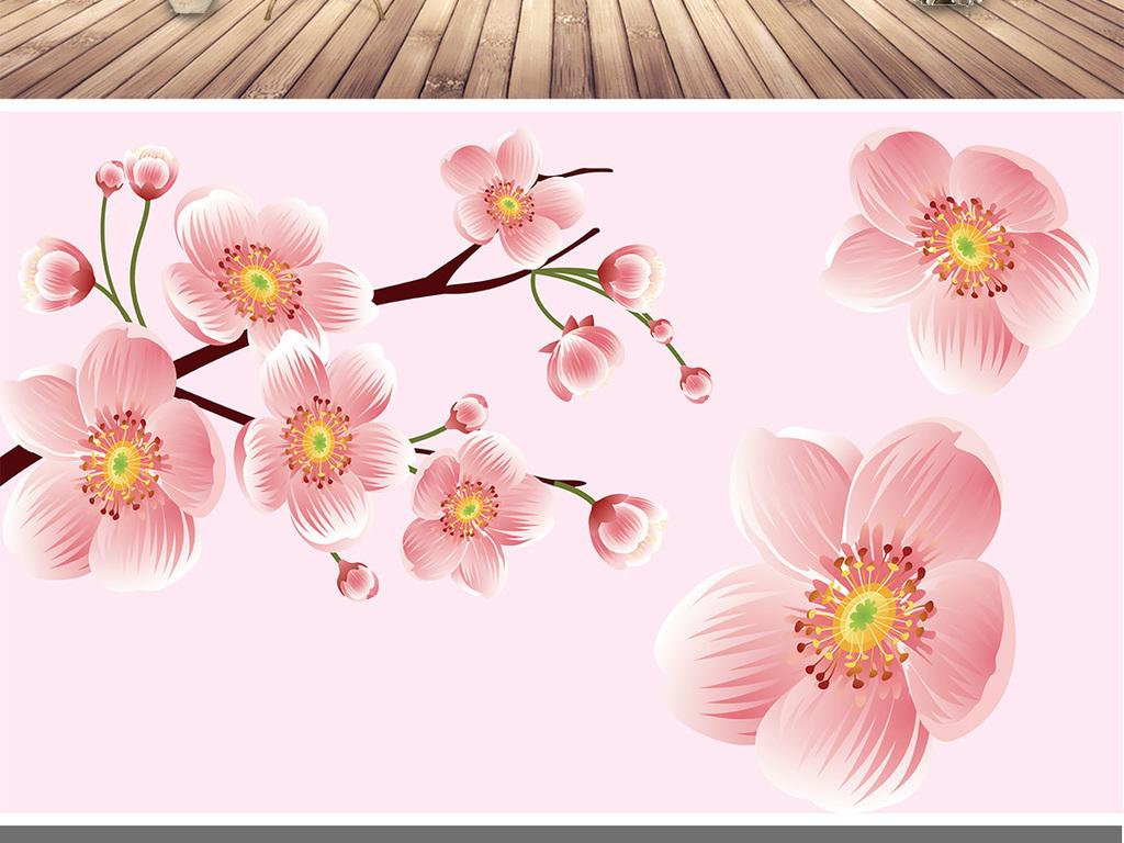 高清手绘桃花背景墙