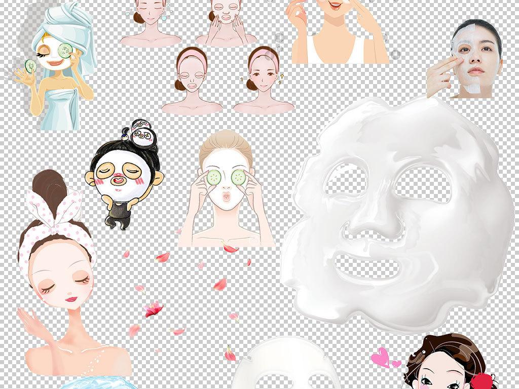 面膜化妆品卡通人物素材