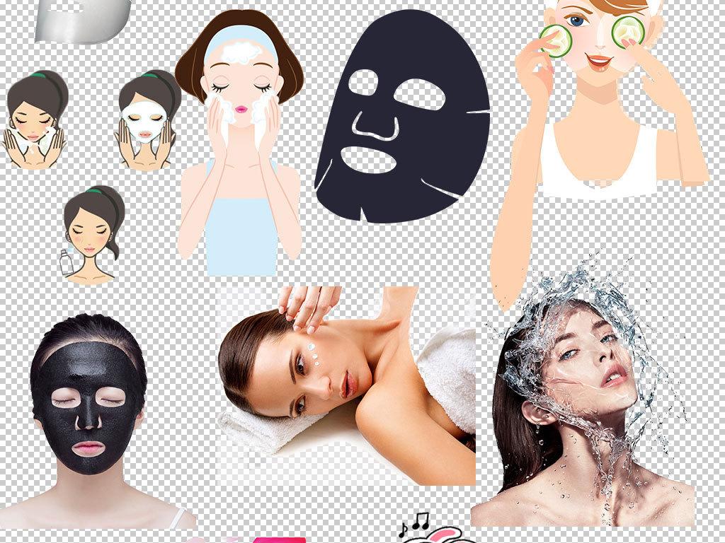 护脸美妆元素卡通人物卡通素材人物卡通化妆品卡通化妆品素材