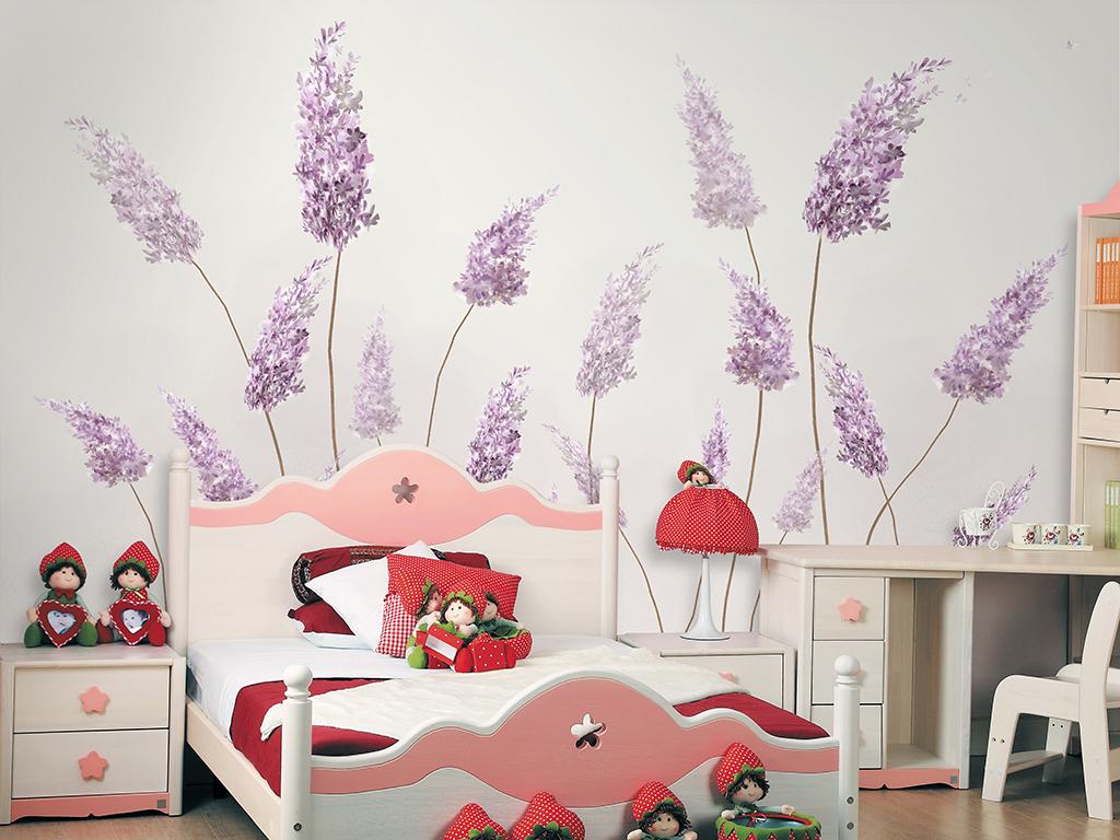 手绘现代简约蒲公英北欧小清新背景墙装饰画