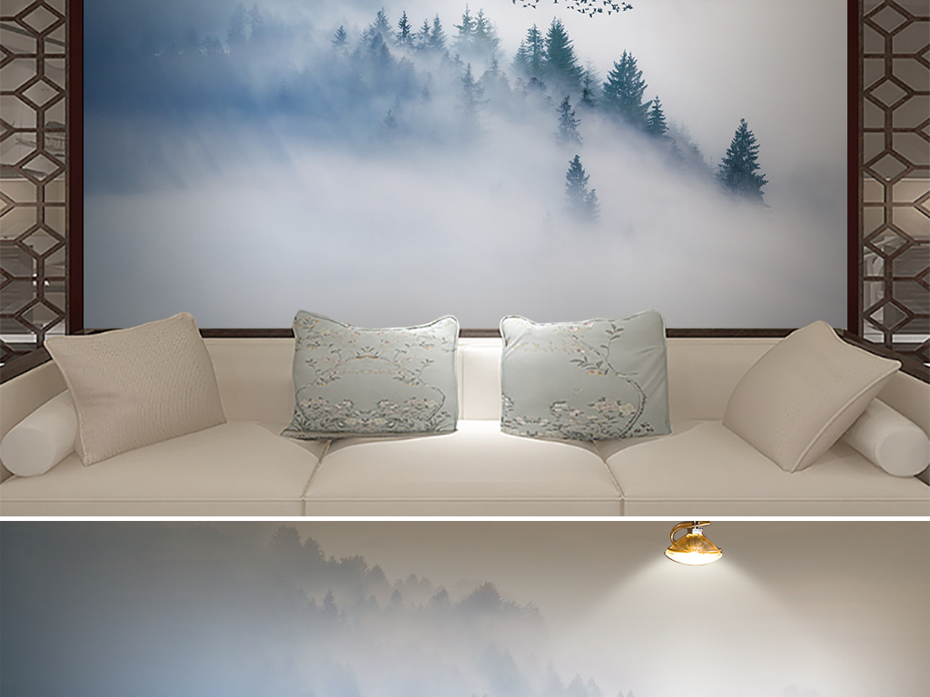 新中式雾松云雾远山电视沙发背景墙壁画图片