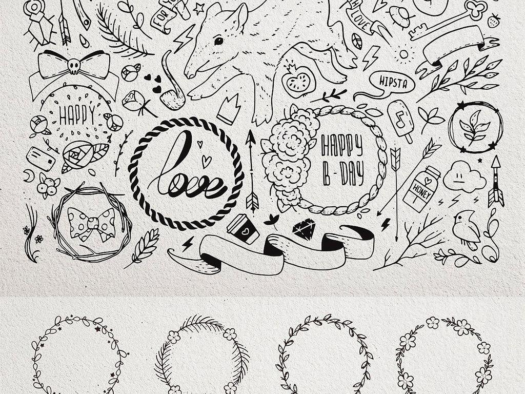 免扣元素 人物形象 动漫人物 > 手绘线条卡通装饰图案集合  素材图片