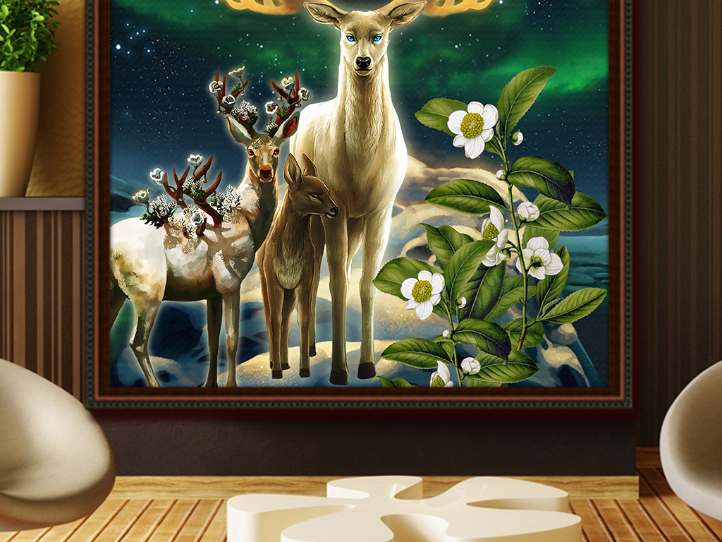 手绘梦幻星空金色麋鹿玄关背景墙壁画