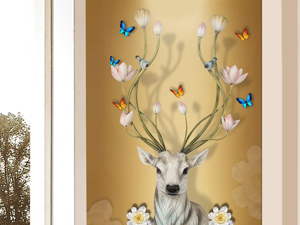 欧式创意3d麋鹿蝴蝶玄关背景装饰画图片