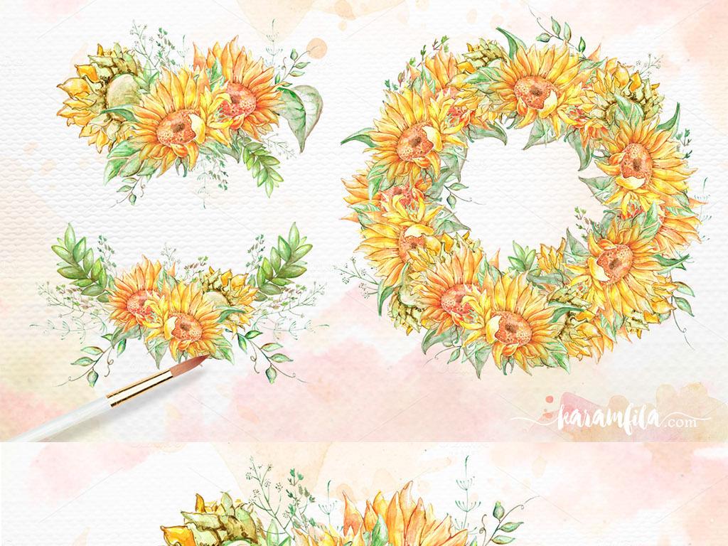 png)唯美手绘向日葵唯美手绘花朵素材