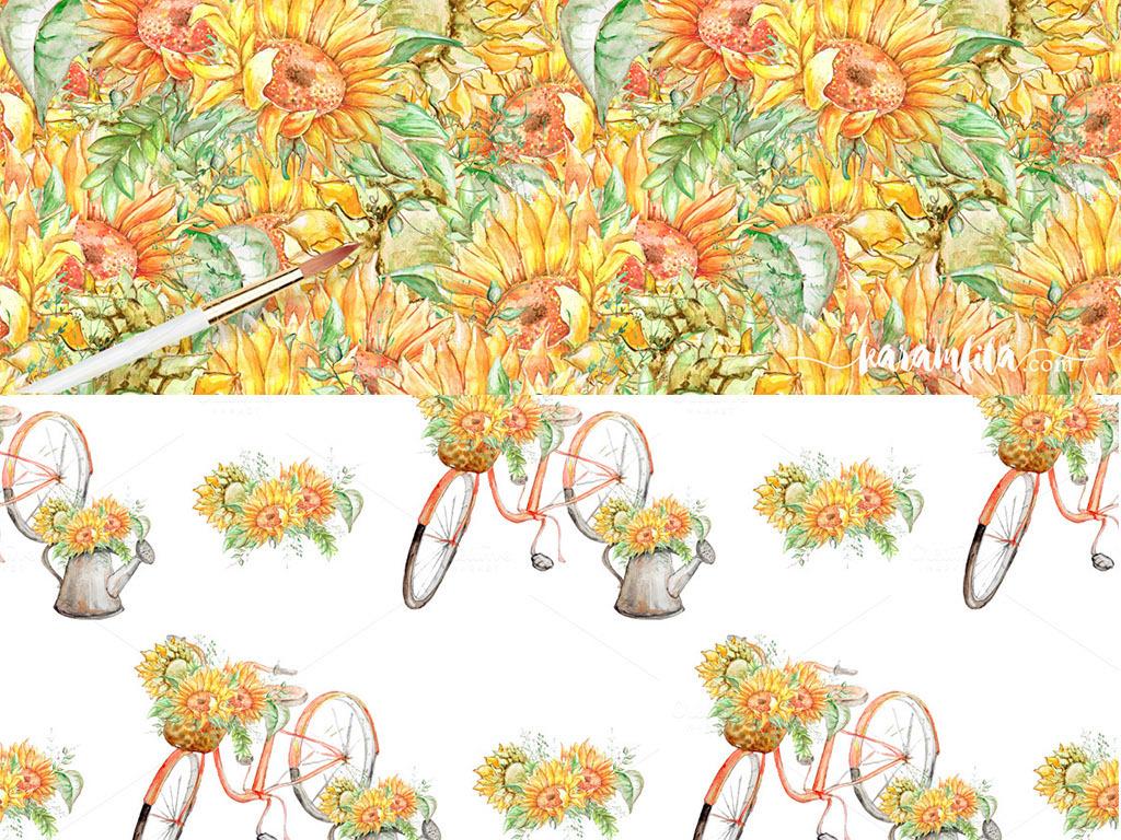 唯美手绘向日葵自行车png免扣设计元素