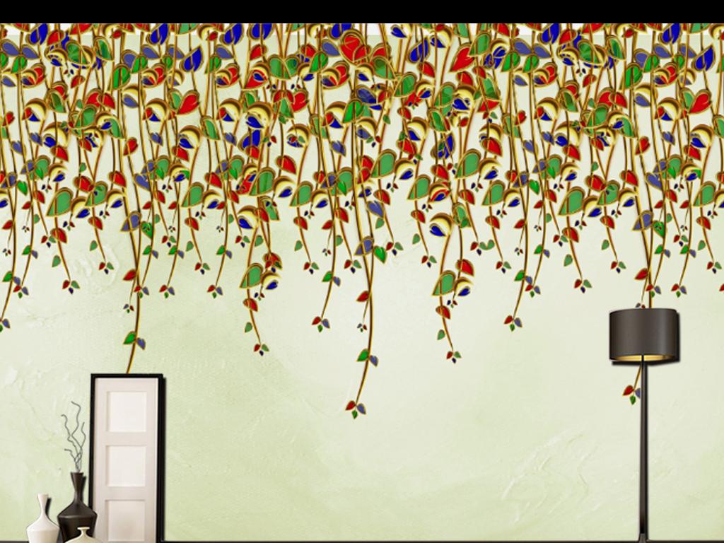 北欧小清新3d立体手绘高清小垂花树枝叶图片