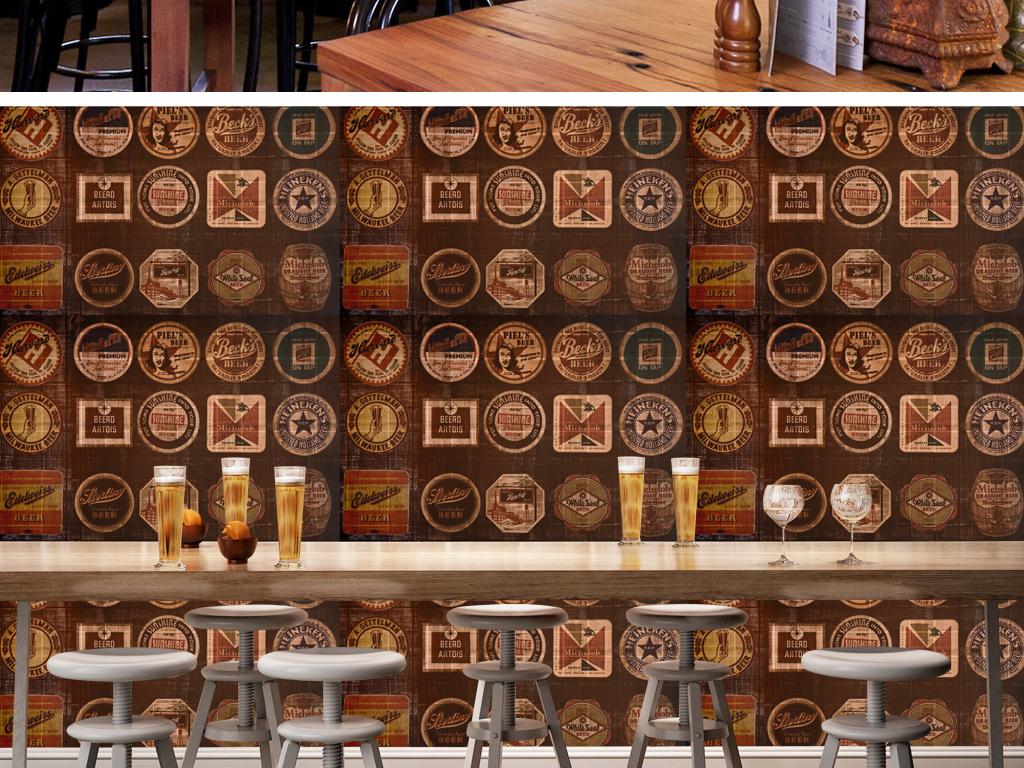 欧式复古怀旧啤酒瓶贴老商标酒吧壁画背景墙图片