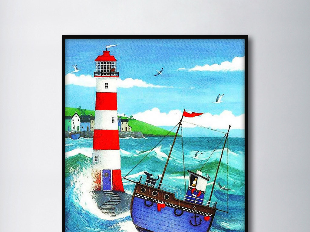 蓝色大海中船和灯塔北欧现代手绘家居装饰画