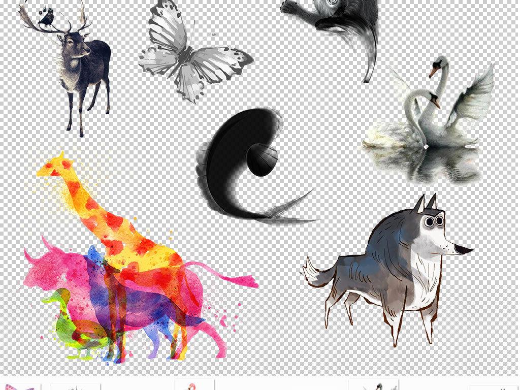 设计元素 其他 效果素材 > 水墨动物中国风设计图片海报素材  版权