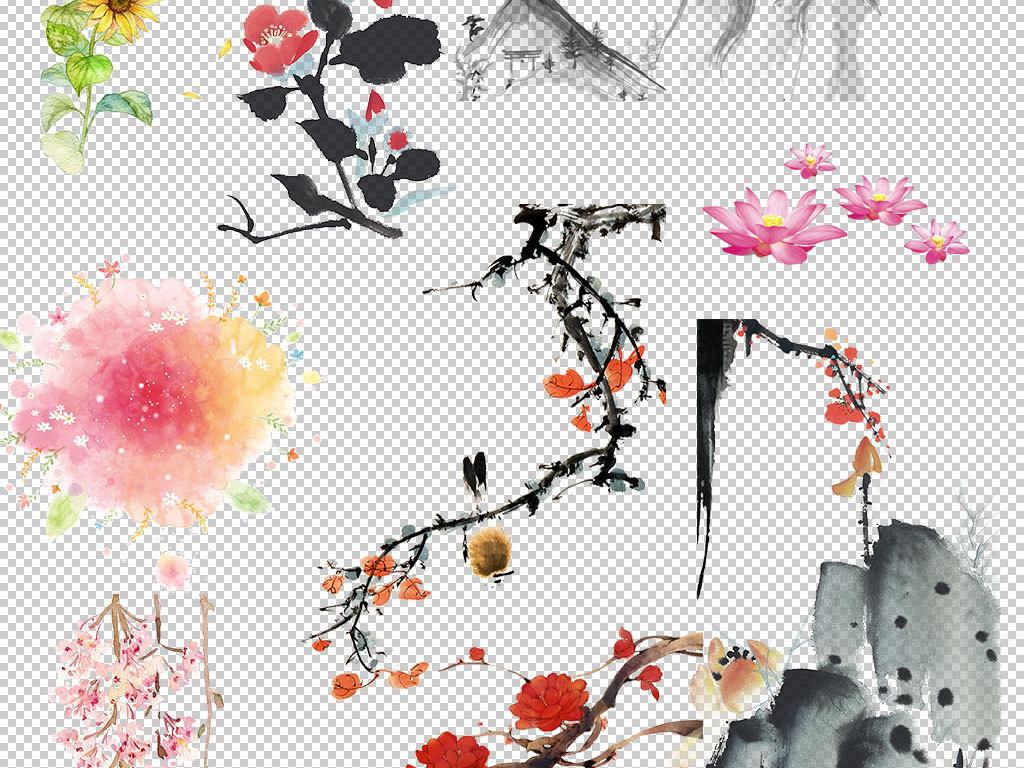 手绘中国风水墨鲜花图片海报素材
