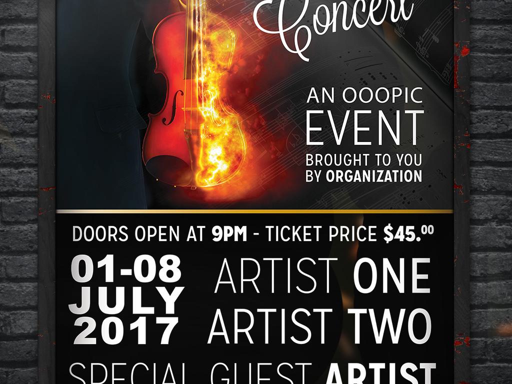 平面|广告设计 海报设计 国外创意海报 > 黑色炫酷小提琴演奏音乐会