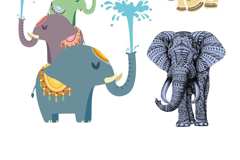卡通大象设计元素手绘大象图案