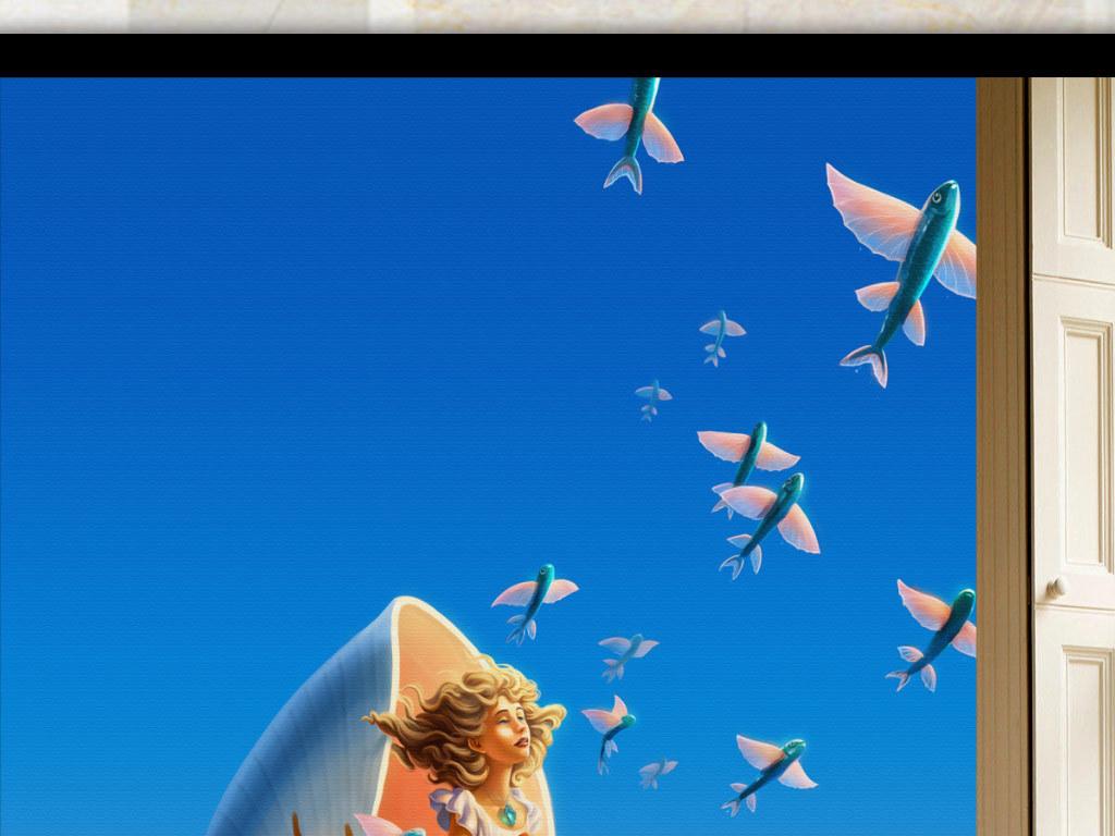 手绘童话飞鱼小女孩玄关背景墙