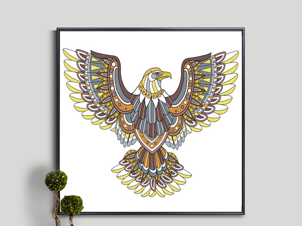 工笔画雄鹰装饰画 16361728 动物图案无框画
