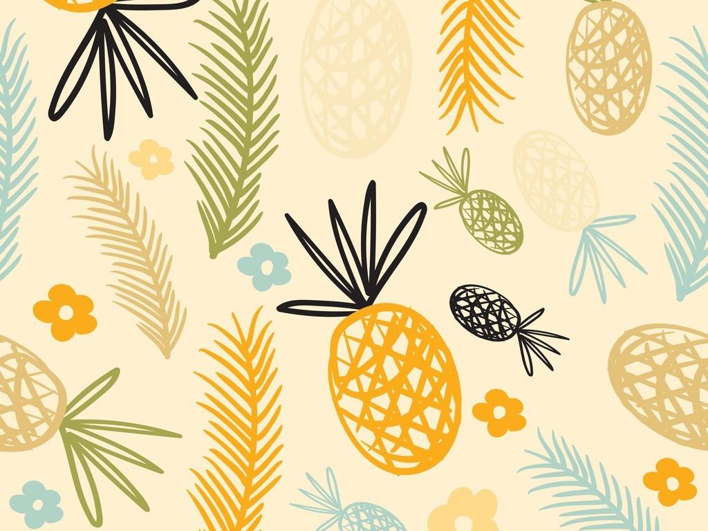 手绘水果抱枕图案设计菠萝叶子