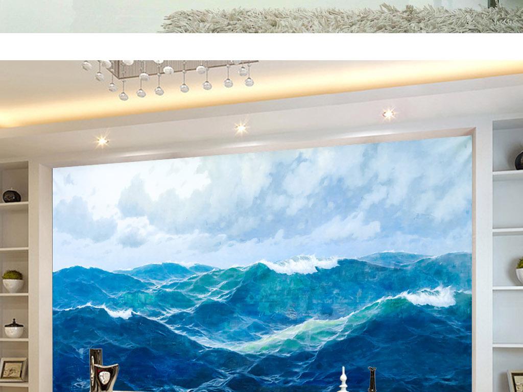蓝色大海天空新现代欧式手绘油画背景墙壁画