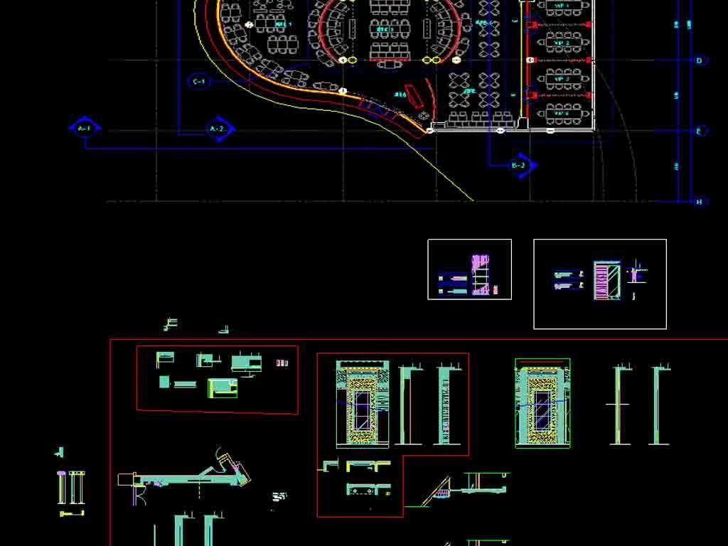 西餐厅及餐厅包间CAD平面图