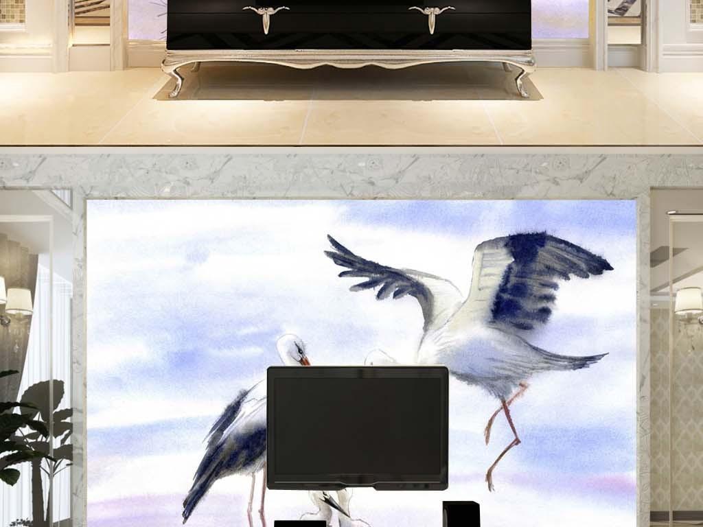 白鹤仙鹤中国风鸟巢山水素色禅意电视背景墙