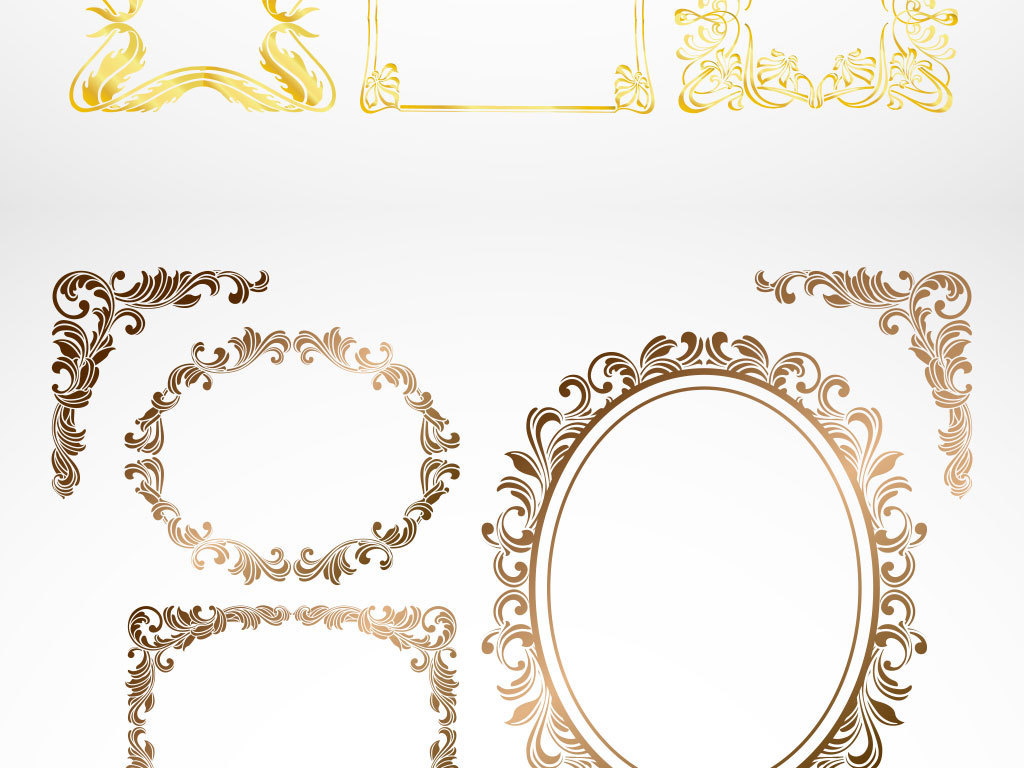 金色高档欧式花纹边框矢量素材图片