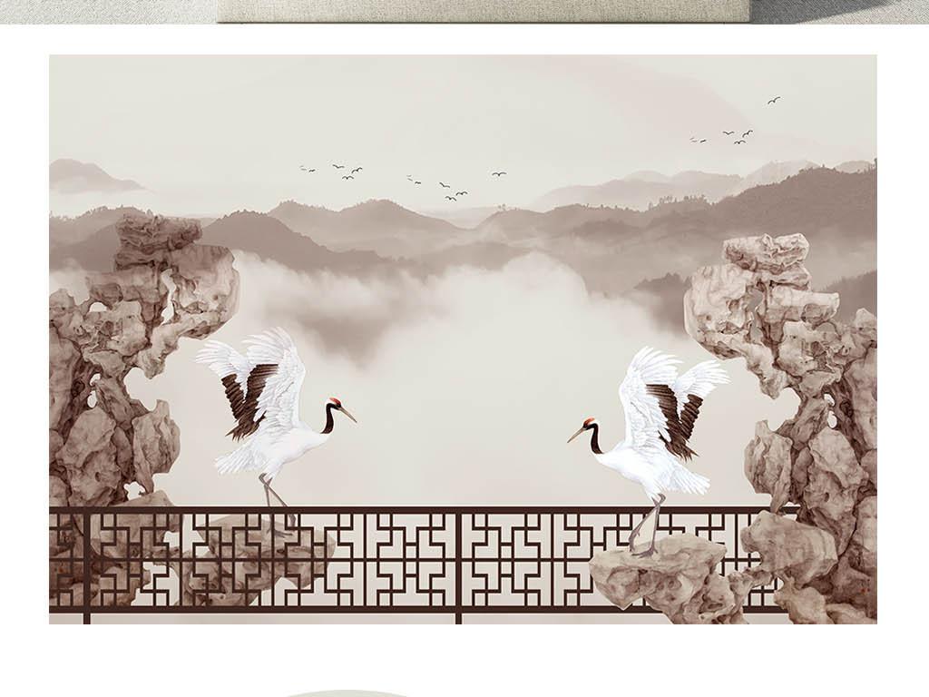 新中式石墩仙鹤写意山水背景墙