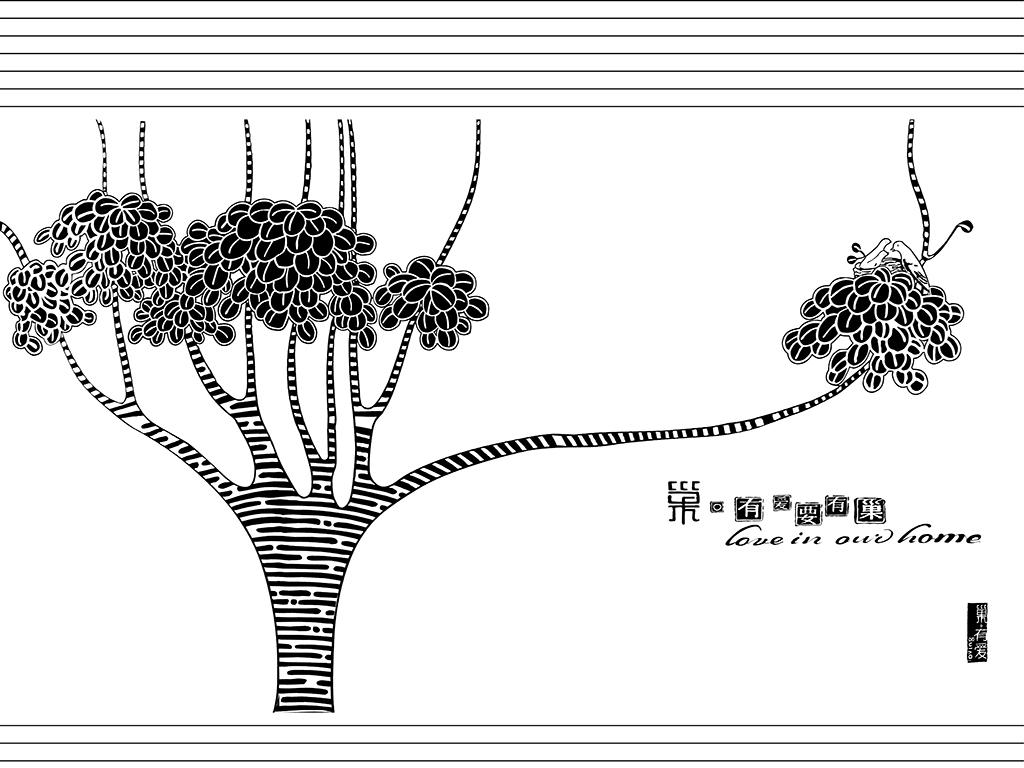 鹿玻璃欧式背景树林背景手绘背景电视背景手绘树林简约欧式电视现代