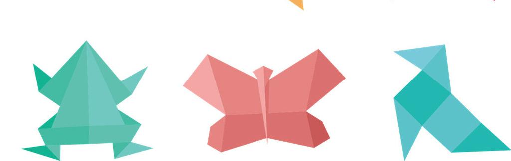 手绘折纸千纸鹤青蛙免抠透明ps素材