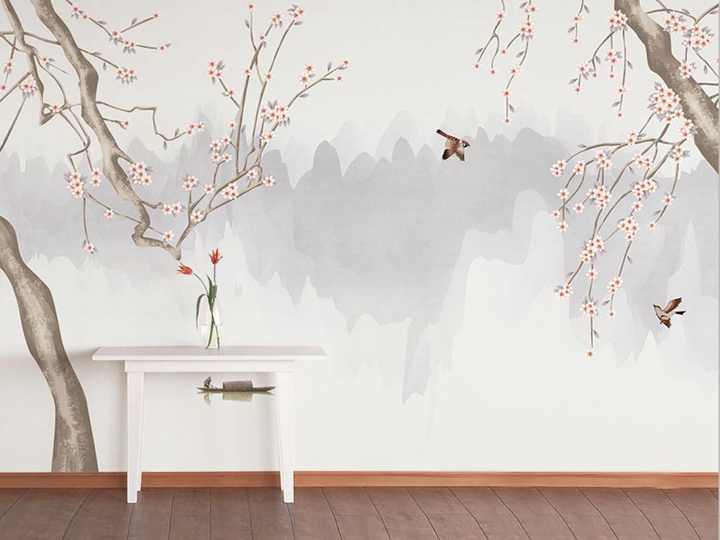 背景墙|装饰画 电视背景墙 手绘电视背景墙 > 手绘雅致花开满园工笔画