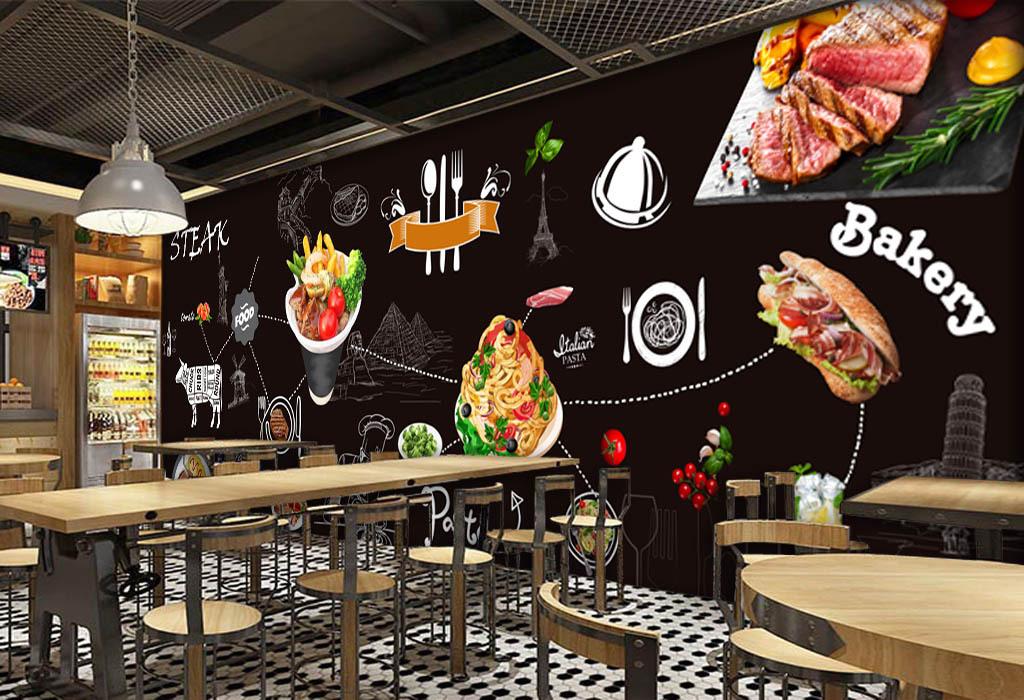 黑色背景手绘美食牛排酒吧咖啡店背景墙