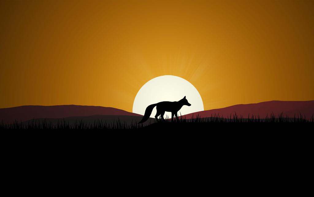 手绘简约简单落日太阳狼群图形挂画