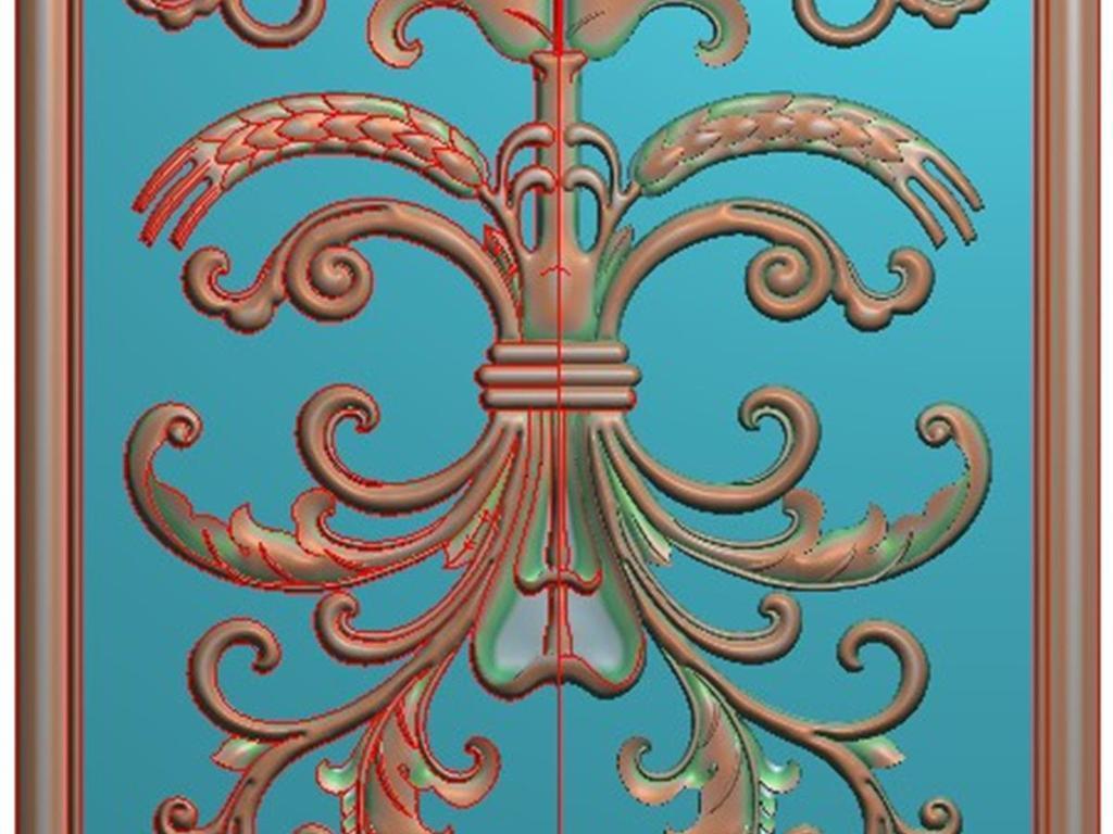 电脑雕刻图精雕图浮雕图木雕图书柜木门洋花麦穗门板有线条精雕图