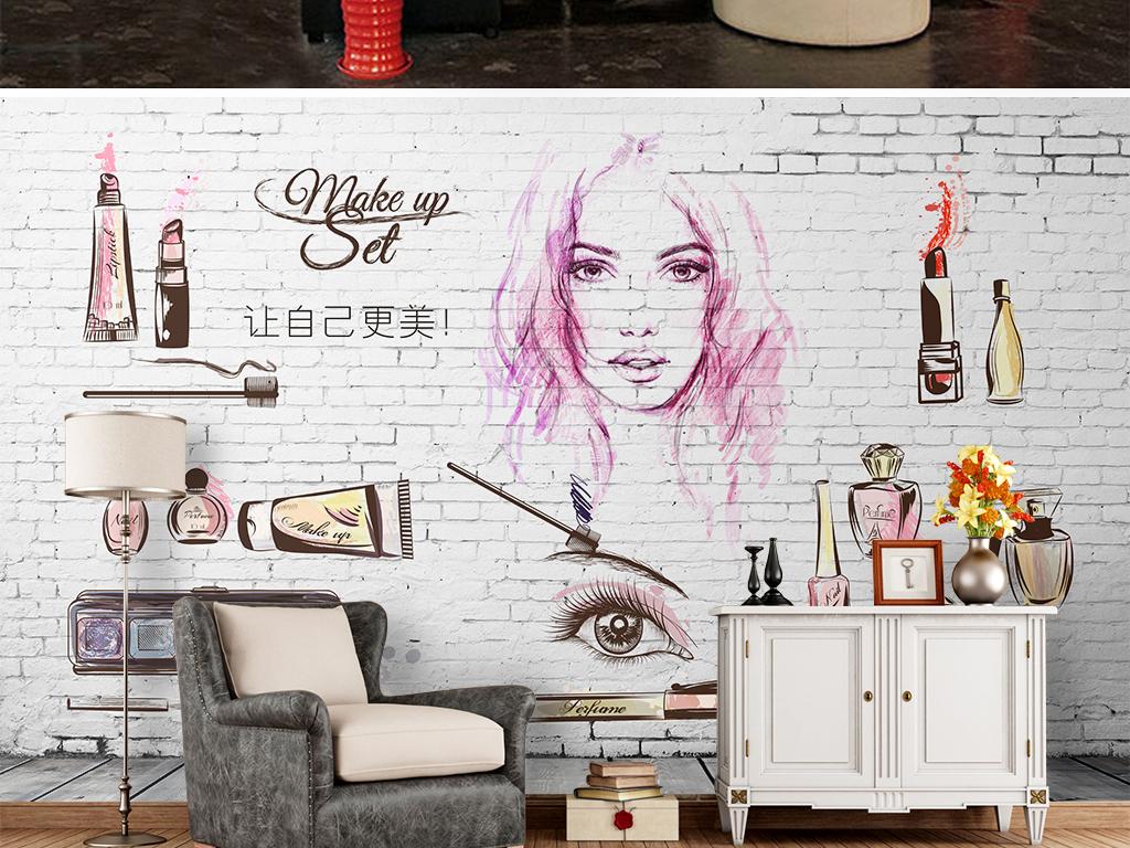 手绘化妆品美容店装饰画背景墙