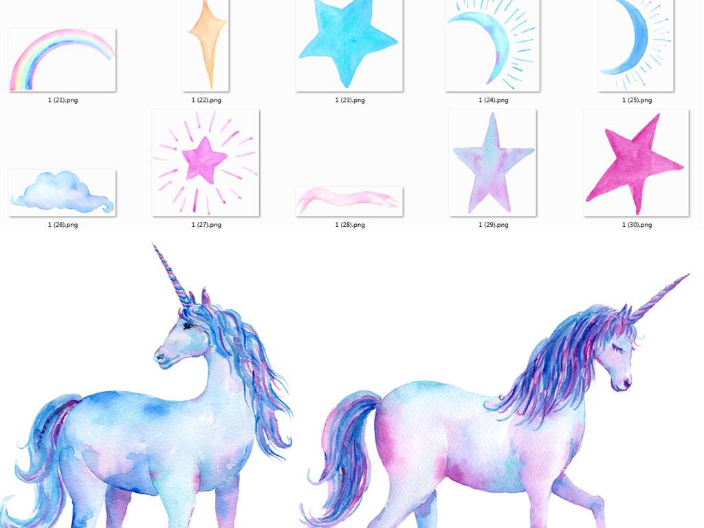 设计元素 自然素材 动物 > 唯美淡雅手绘水彩独角兽彩虹云朵png素材